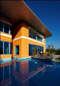 Front View Futuristic Orange House in Ankara Turkey by Yazgan Design Architecture 211x300 Desain Rumah Idaman yang Nyaman