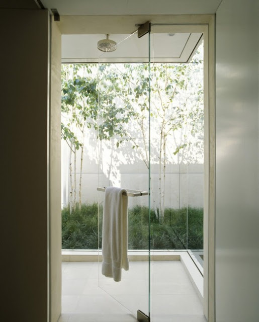 Glass Bathroom Door Design in Modern Marin County Residence by Dirk Denison Architects 523x650 Desain Rumah Modern oleh Arsitek Dirk Denison