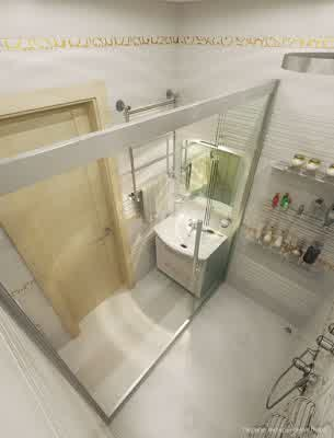 Large Shower Room Design in Small Apartment Interior Design by Artem Kornilov Rumah Gaya Modern oleh Artem Kornilov