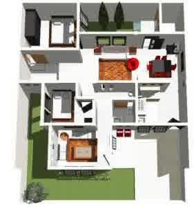 denah rumah minimalis 281x300.jpg1  Contoh Desain Denah Rumah Minimalis 2 Lantai yang Sederhana